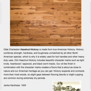 "UA Floors Olde Charleston Engineered Hickory Hazelnut 7 1/2""-0"