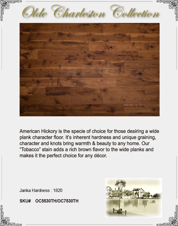 "UA Floors Olde Charleston Engineered Hickory Tobacco 7 1/2""-0"